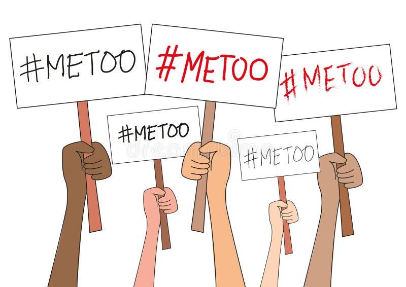 As mulheres entregam guardar placas do sinal com a palavra imitaçãoa do hashtag, isolada no branco Movimento imitação Anti protes ilustração royalty free