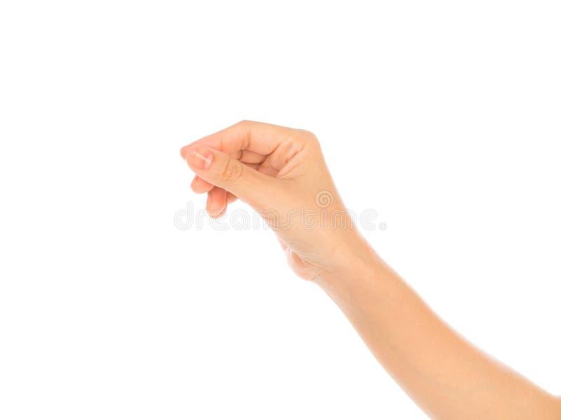As mulheres entregam para guardar o cartão, cartão de crédito, papel ou oth vazio foto de stock