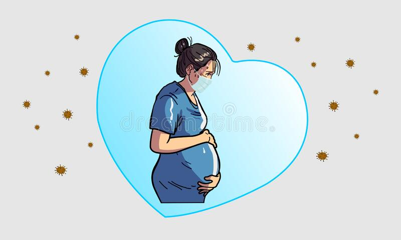 As mulheres grávidas preocupam-se com o bebê no útero foto de stock