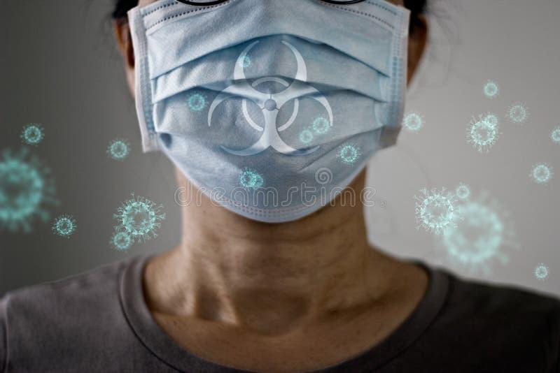 As mulheres idosas que usam máscara de vírus protegem a infecção e espalham Coronavírus ou Covid- 19 em pano de fundo pálido fotos de stock royalty free