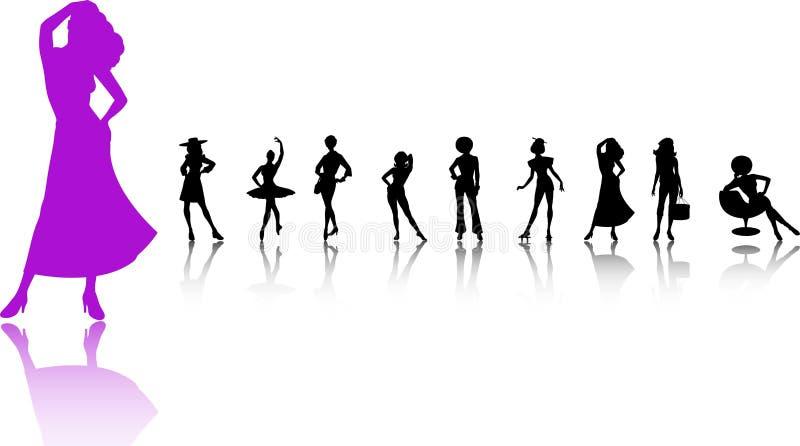 As mulheres mostram em silhueta o jogo ilustração royalty free
