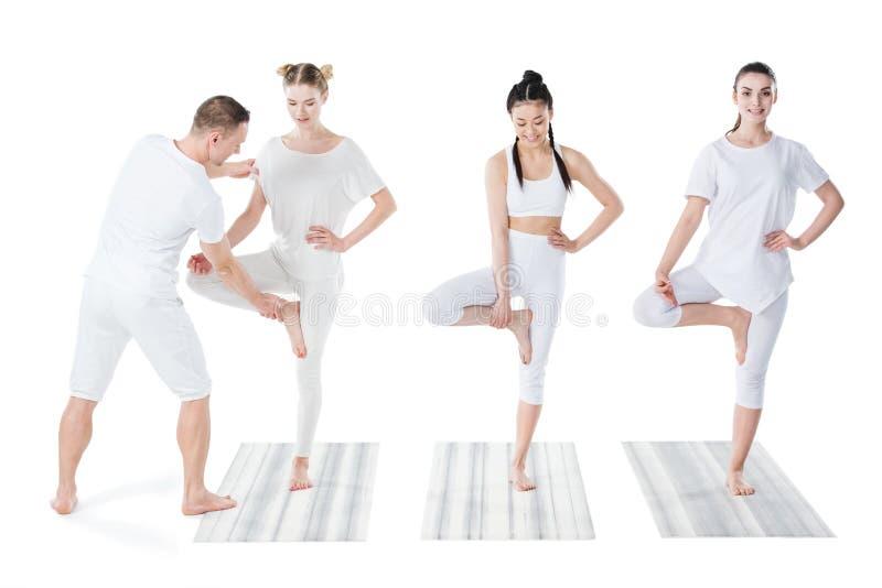 As mulheres multi-étnicos atrativas que praticam a ioga da árvore levantam em esteiras com instrutor fotos de stock