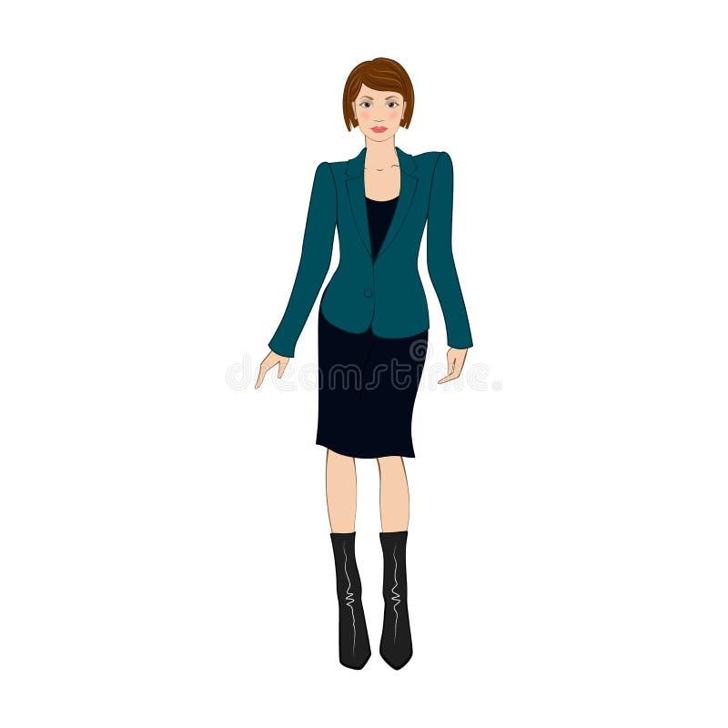 As mulheres no escritório elegante vestem o ícone liso ilustração royalty free
