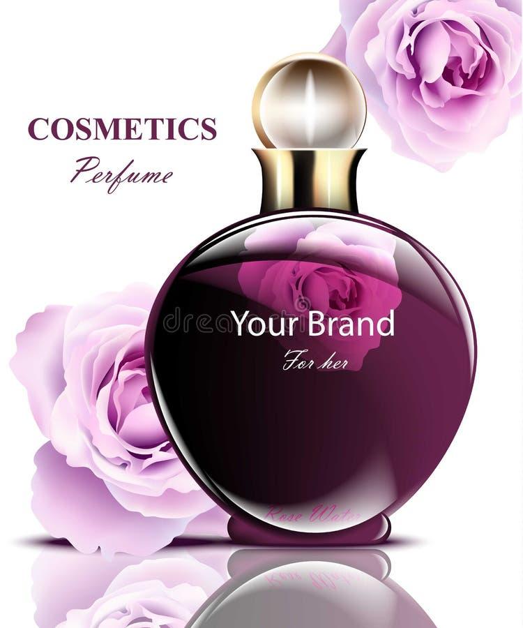 As mulheres perfumam a garrafa escura com fragrância cor-de-rosa delicada das flores Projetos de empacotamento realísticos do pro ilustração do vetor