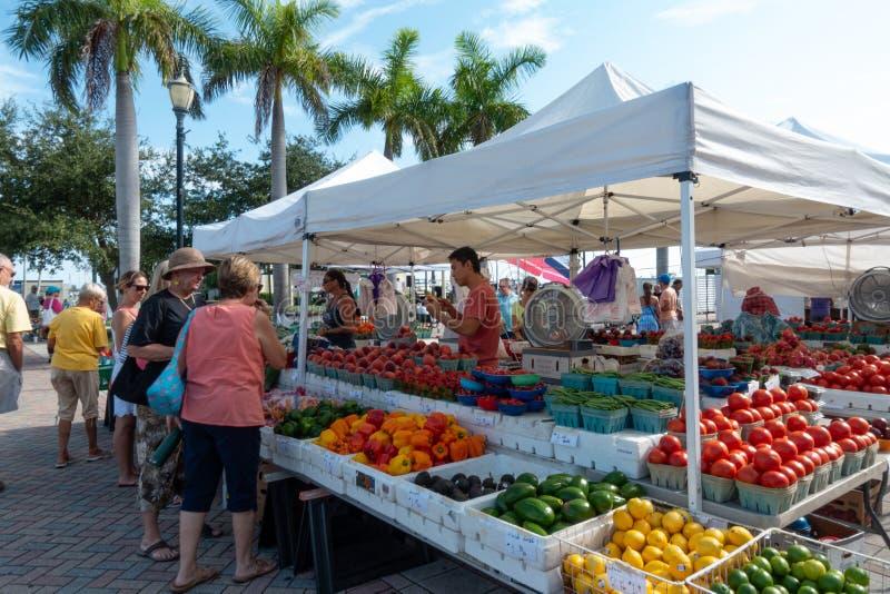 As mulheres que compram vegetais do fazendeiros estão imagens de stock royalty free