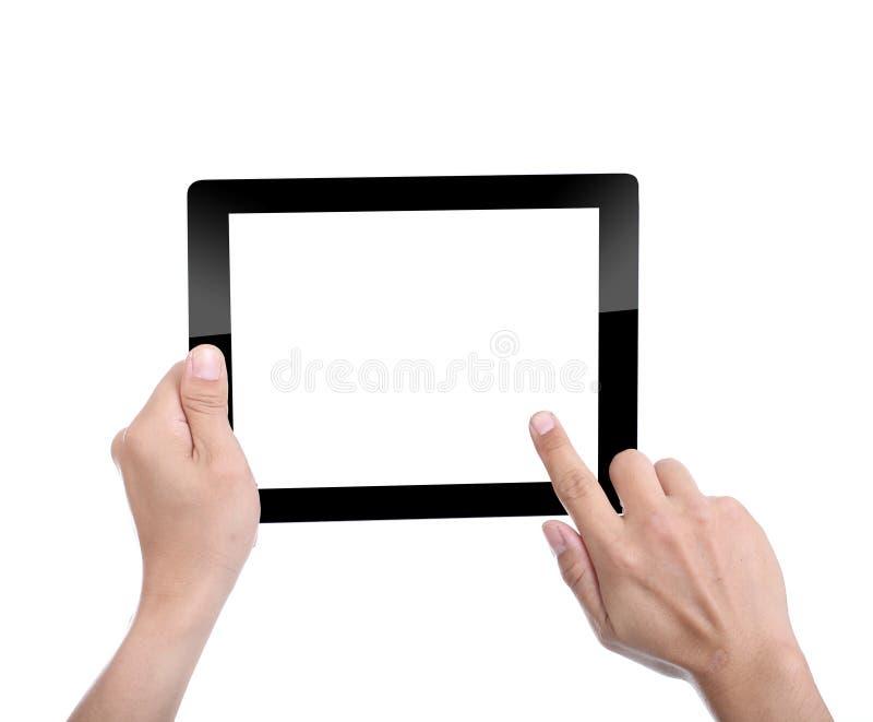 As mulheres que guardam o PC da tabuleta para fazem algo imagens de stock royalty free