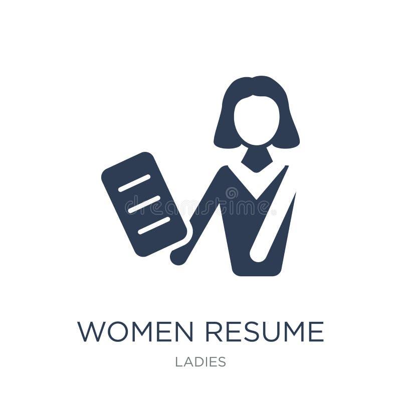 As mulheres recomeçam o ícone As mulheres lisas na moda do vetor recomeçam o ícone no branco ilustração royalty free