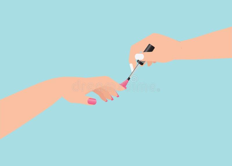 As mulheres s entregam fazer um tratamento de mãos que aplica o verniz para as unhas cor-de-rosa ilustração do vetor