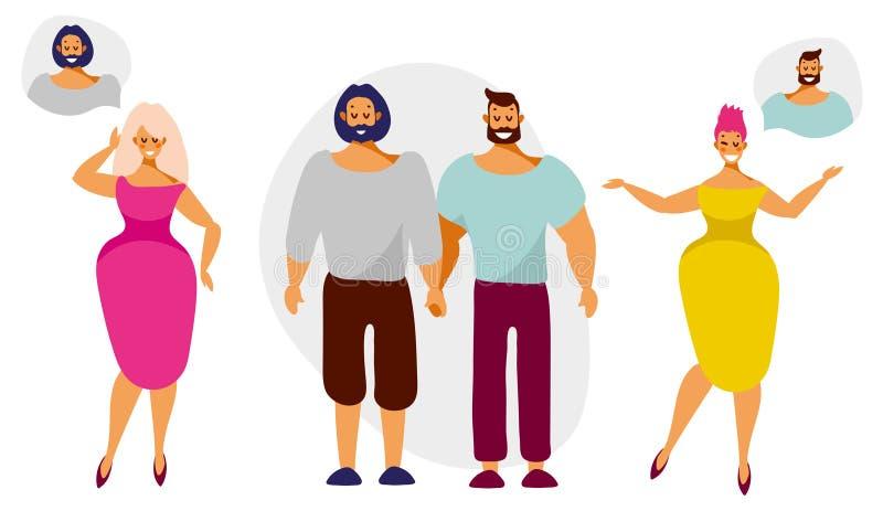 As mulheres sonham dos homens dos pares do lgbt ilustração stock