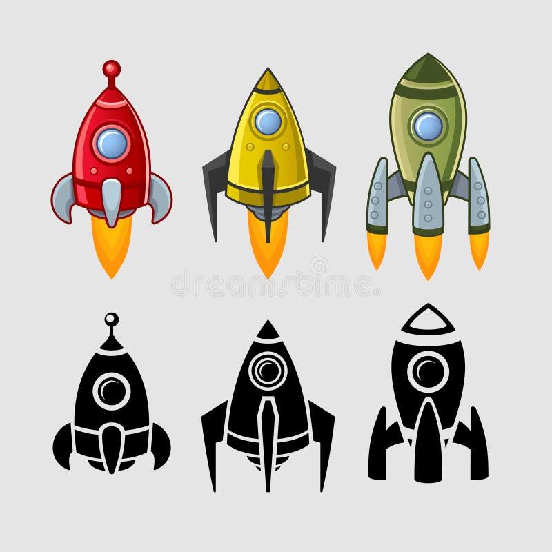 As naves espaciais ajustadas colorem e enegrecem ilustração do vetor