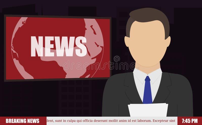 As notícias ancoram em notícias de última hora da tevê foto de stock