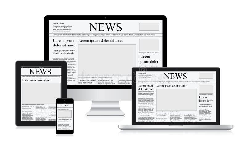 As notícias em linha vector o jornal da tabuleta do computador do conceito da ilustração ilustração do vetor