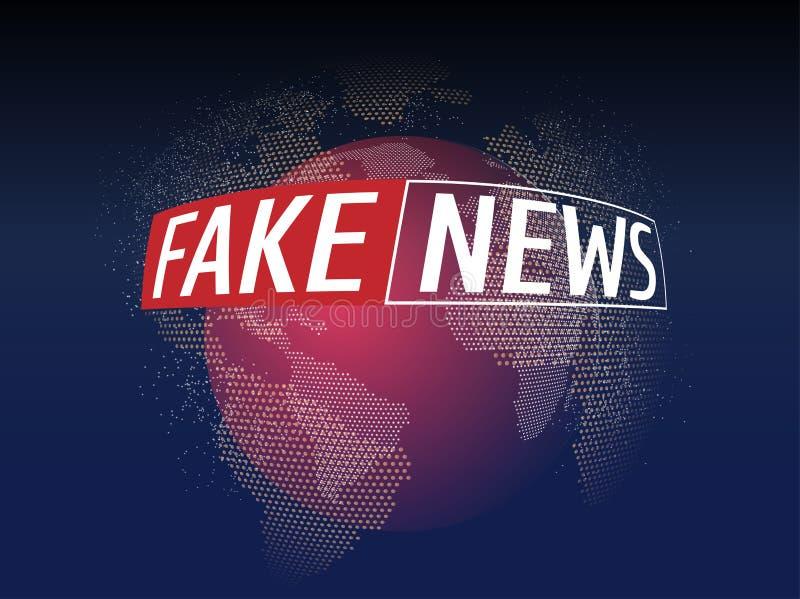 As notícias falsificadas vivem no fundo do mapa do mundo Fundo da notícia da falsificação da tecnologia do negócio Ilustração do  ilustração royalty free