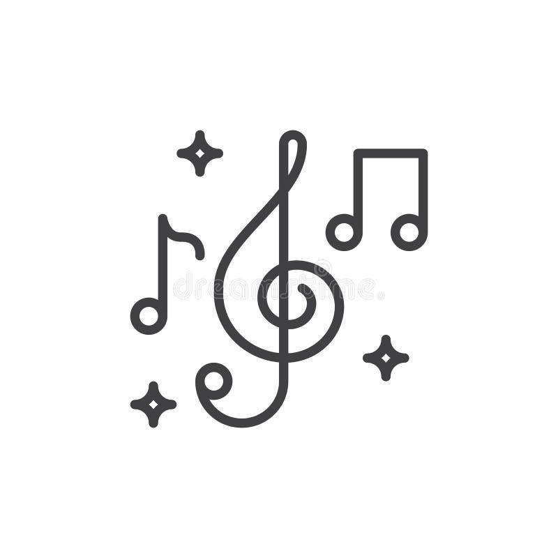 As notas da clave de sol e da música alinham o ícone, sinal do vetor do esboço, pictograma linear do estilo isolado no branco ilustração do vetor