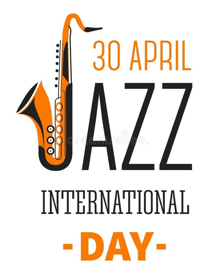 As notas e os instrumentos musicais isolaram o vetor internacional do dia do festival de jazz dos ícones ilustração do vetor