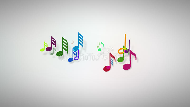 As notas musicais com profundidade de campo ilustração stock