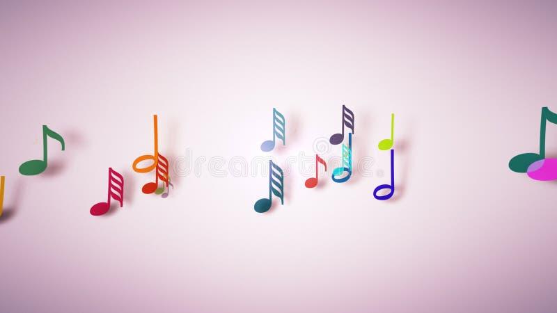 As notas musicais com profundidade de campo ilustração do vetor