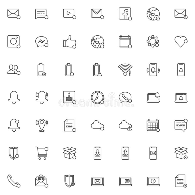 As notificações alinham o grupo dos ícones ilustração royalty free