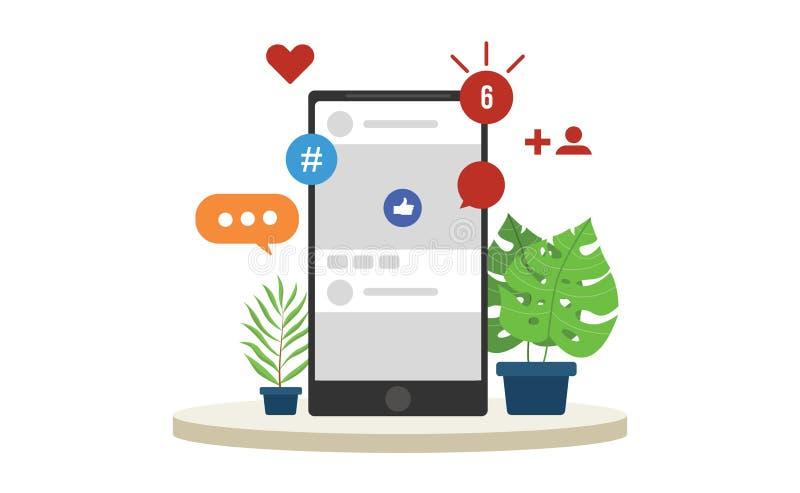 As notificações sociais dos trabalhos em rede dos meios estalam acima com vário tipo da plataforma com smartphone ilustração royalty free