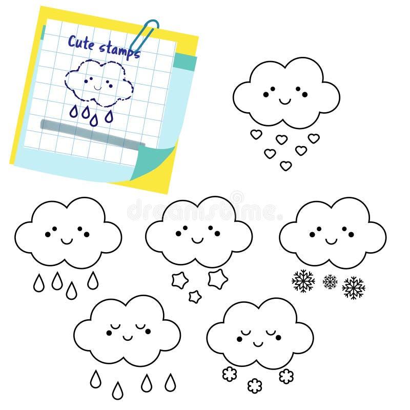 As nuvens bonitos esboçam ícones Selos para crianças e crianças ilustração royalty free