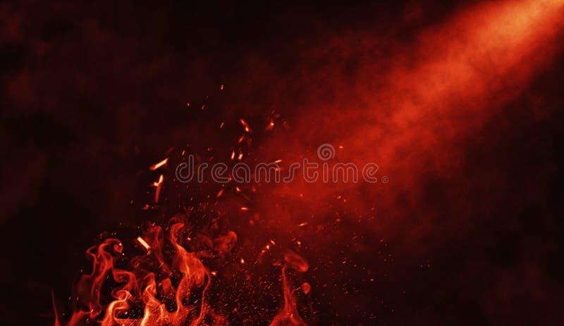 As nuvens de fumo do gelo seco enevoam a textura do assoalho Efeito perfeito da névoa do spotight das partículas do fogo no fundo ilustração royalty free