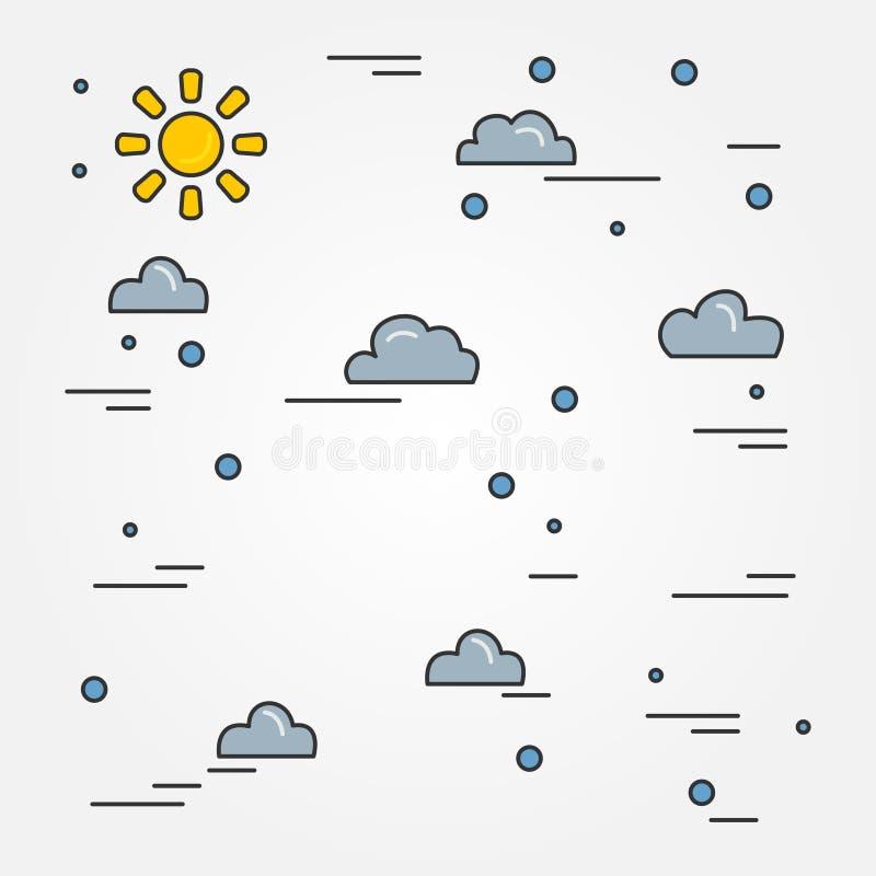 As nuvens diluem a linha projeto Ícone da pena das nuvens Ícone da pena das nuvens Nubla-se p ilustração do vetor