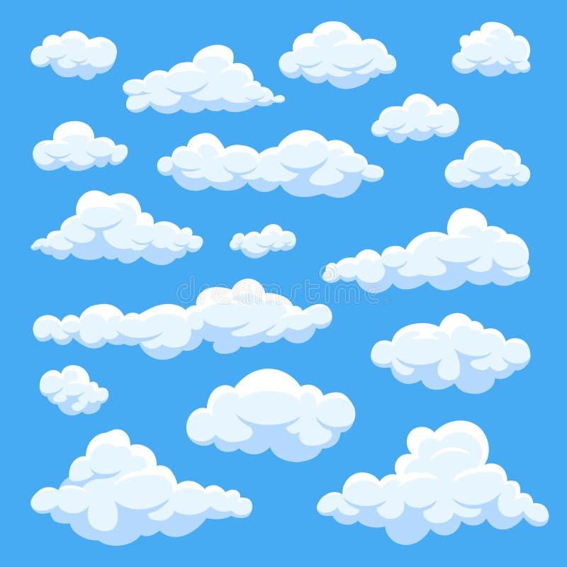 As nuvens dos desenhos animados isoladas no panorama do céu azul vector a coleção ilustração royalty free
