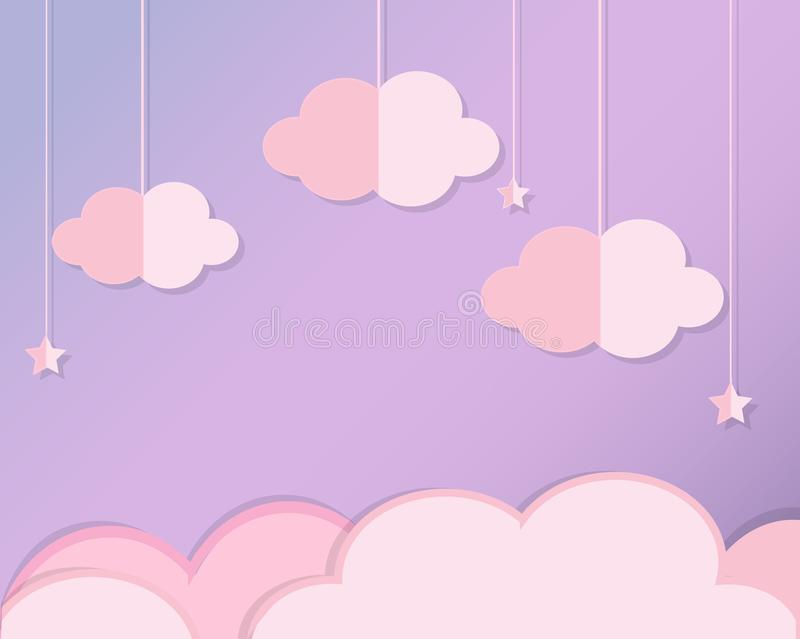 As nuvens e protagonizam no céu violeta O fundo no corte do papel, o estilo do ofício de papel para o bebê, as crianças e o berçá ilustração do vetor