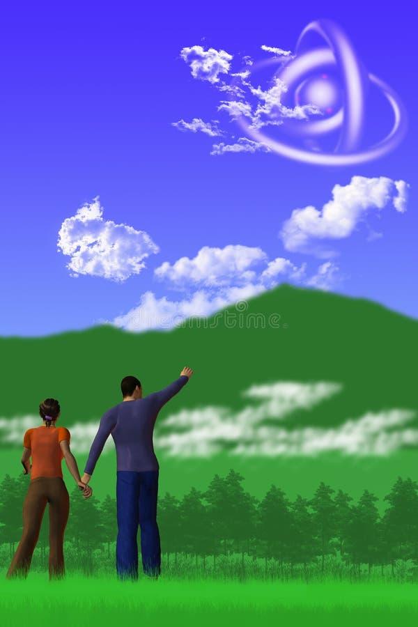 As observações do UFO ilustração stock