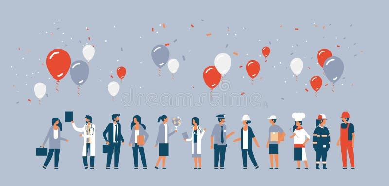 As ocupações diferentes dos povos do Dia do Trabalhador estão junto o fundo do cinza do conceito dos balões da celebração de uma  ilustração do vetor