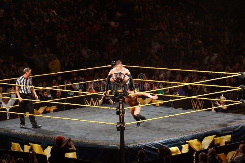 As ocupas masculinas de Finn Balor do lutador de NXT sobre o anel ropes como Adri imagem de stock