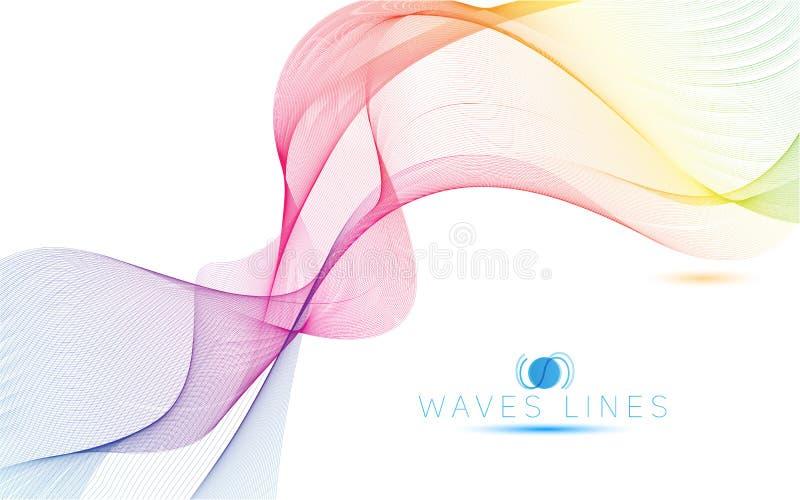 As ondas claras coloridas alinham a ilustração abstrata brilhante do teste padrão ilustração stock