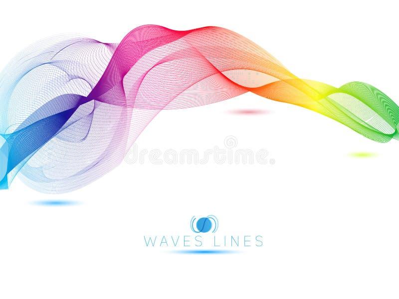 As ondas claras coloridas do arco-íris alinham a ilustração abstrata brilhante do vetor ilustração do vetor