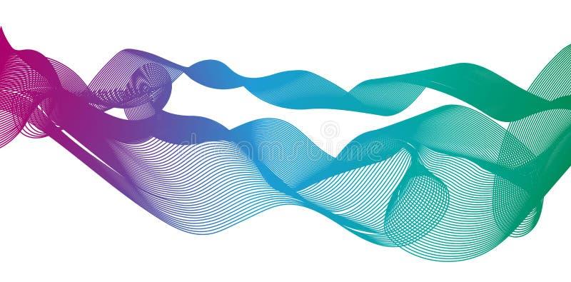 As ondas claras do inclinação colorido alinham o vetor abstrato brilhante eps10 da ilustração do teste padrão ilustração royalty free