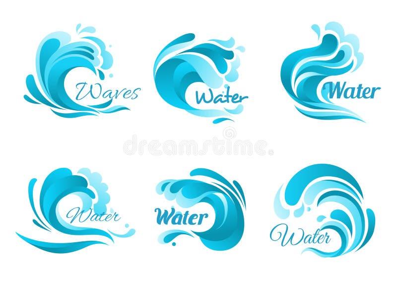 As ondas e a água espirram ícones do vetor ilustração stock