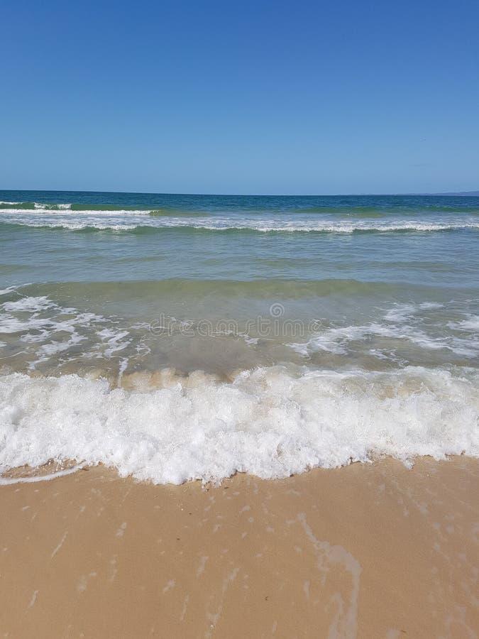 As ondas espumam na costa da ilha do bribie foto de stock royalty free