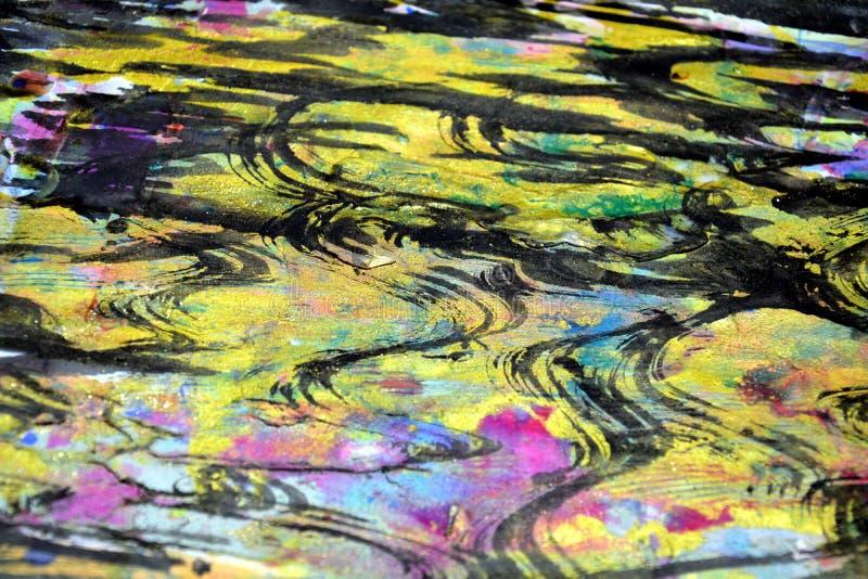As ondas hipnóticas roxas espirram, cores cerosos vívidas coloridas, fundo criativo dos contrastes fotos de stock