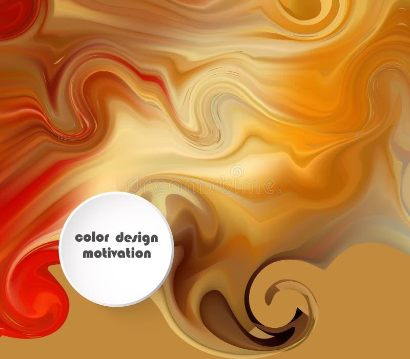 As ondas líquidas abstraem a composição Fundo amarelo alaranjado com linhas da onda Molde na moda do Web page com forma líquida ilustração do vetor