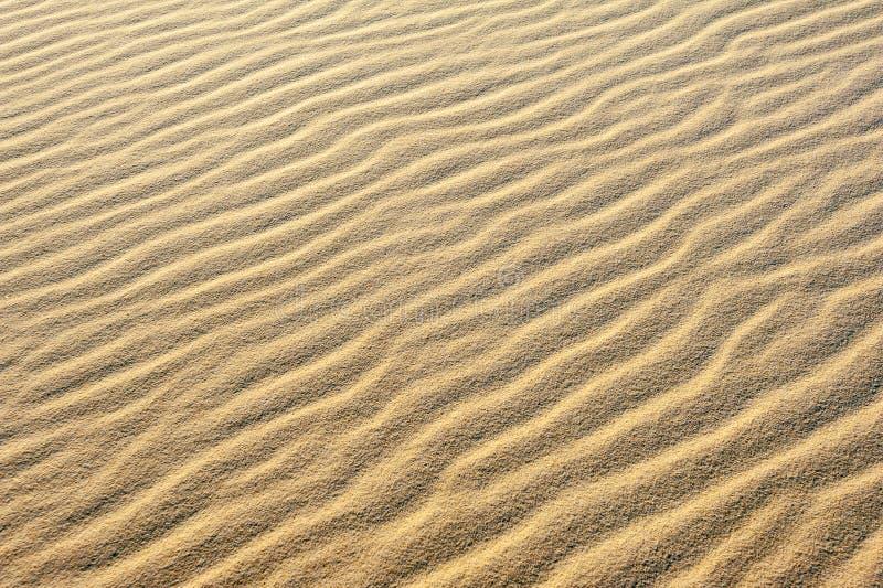 As ondinhas na areia criam testes padrões e texturas nas dunas de areia imagens de stock