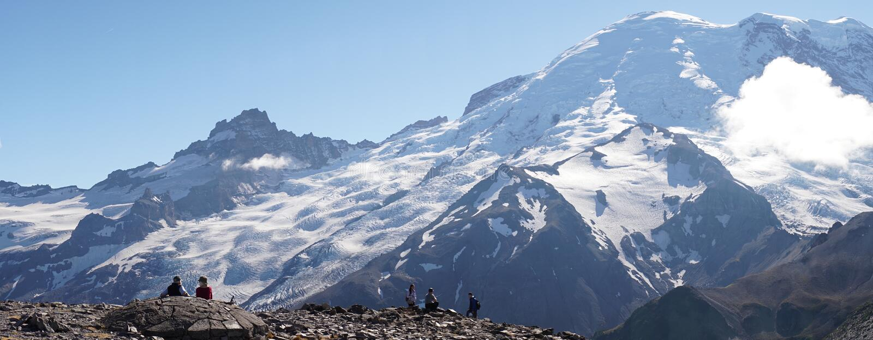 As opiniões de Rainier Glacier da montagem no país das maravilhas arrastam perto de Seattle, EUA foto de stock