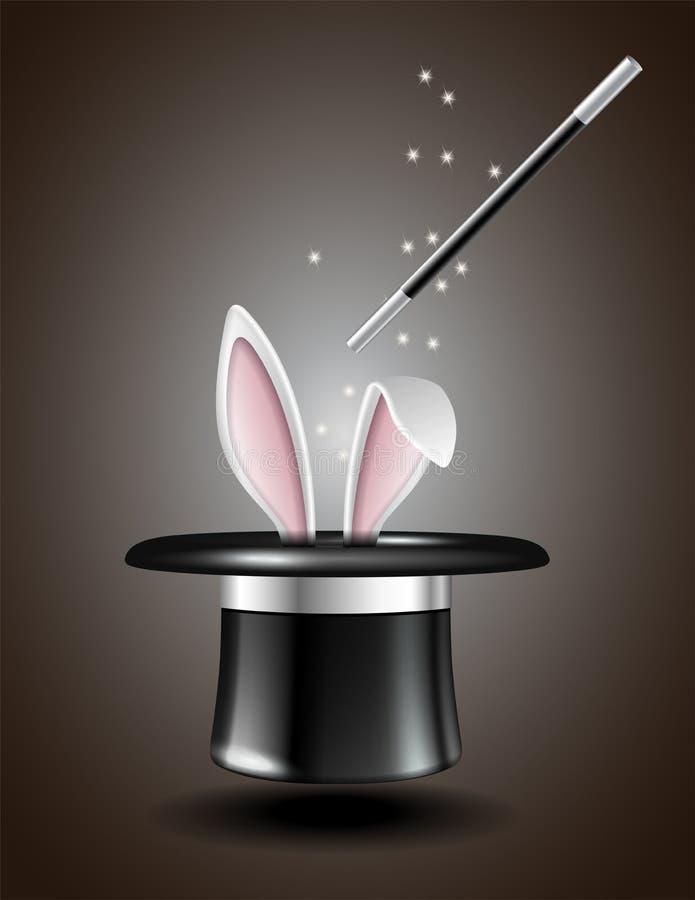 As orelhas de coelho brancas aparecem do chapéu mágico ilustração stock