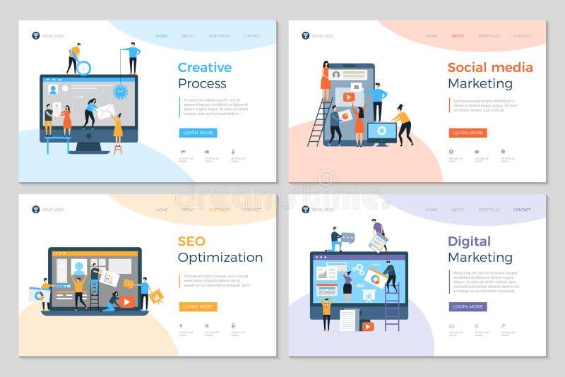 As páginas da aterrissagem projetam Disposição de projeto móvel criativa do desenvolvimento do PC da agência de propaganda da con ilustração do vetor
