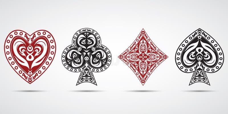 As pás, corações, diamantes, batem o fundo do cinza dos símbolos dos cartões do pôquer fotografia de stock royalty free