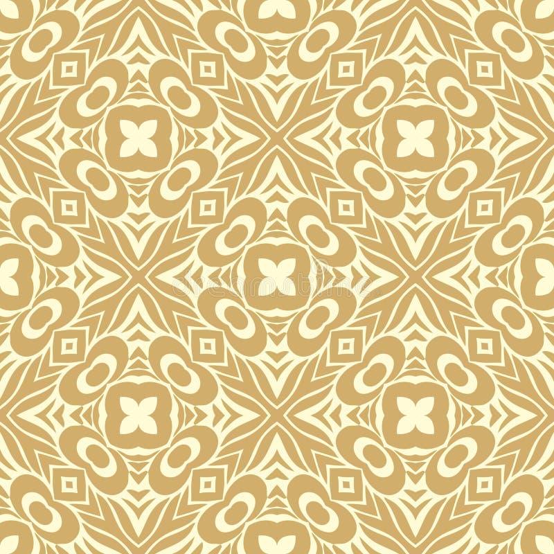 As pétalas cruzadas inteiramente enchidas das flores n projetam a ilustração sem emenda do fundo do teste padrão no ouro acastanh ilustração stock