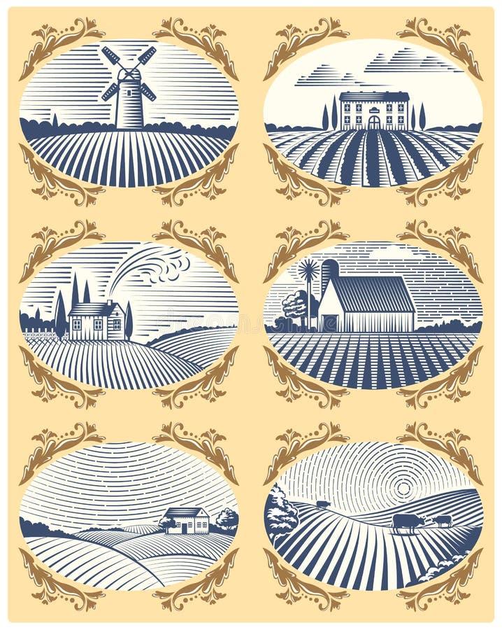 As paisagens retros vector o desenho antigo cênico do campo gráfico da agricultura da casa e do campo da exploração agrícola da i ilustração stock