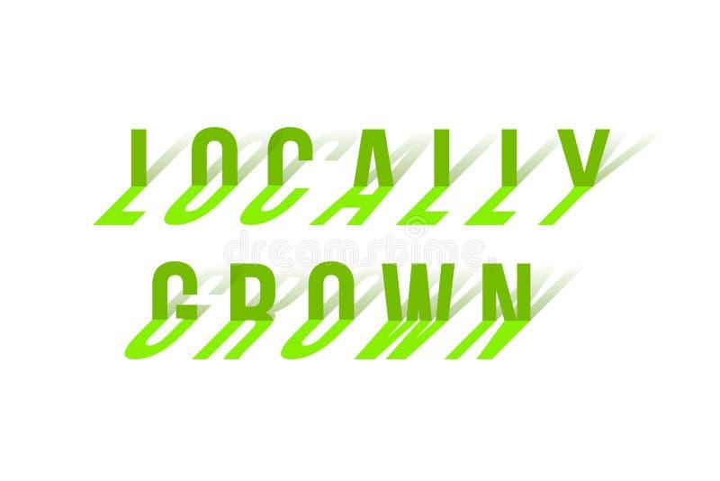 As palavras cultivados localmente fizeram das letras curvadas isoladas no branco Elemento do projeto do vetor ilustração royalty free