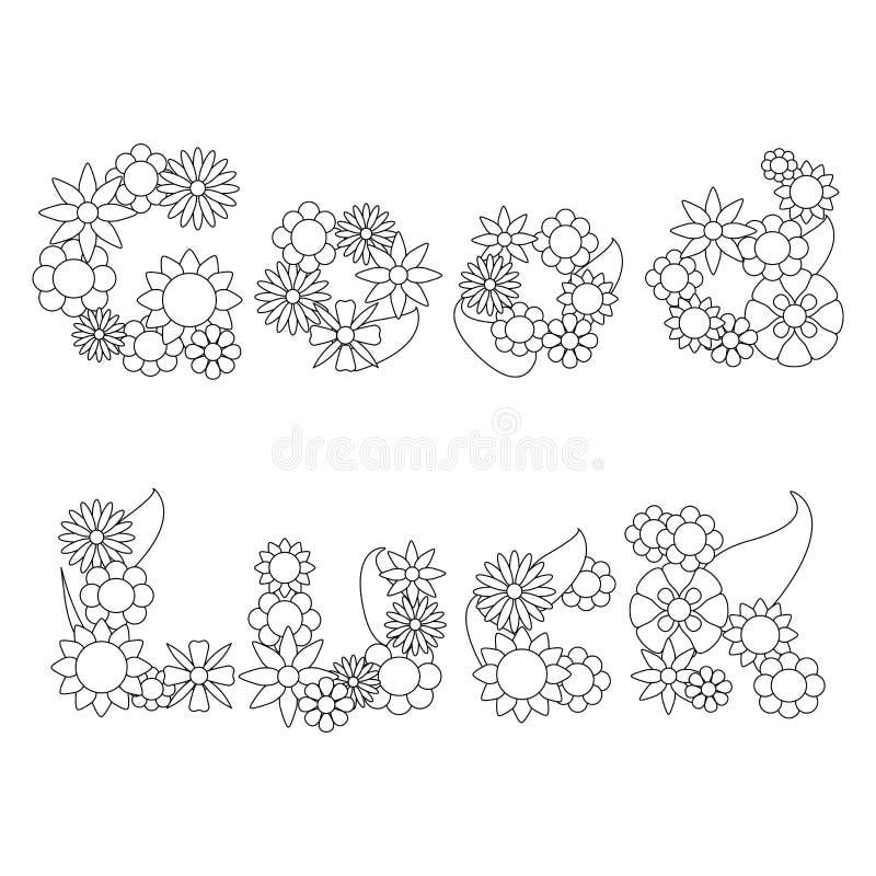 As palavras da boa sorte por flores vector o ornamento para colorir ilustração do vetor
