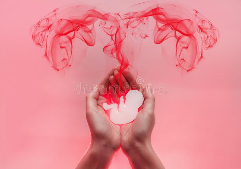 As palmas da mulher pressionaram junto e mantêm o embrião do papel O lood vermelho vem do bebê sob a forma dos tubos de Falopio C foto de stock