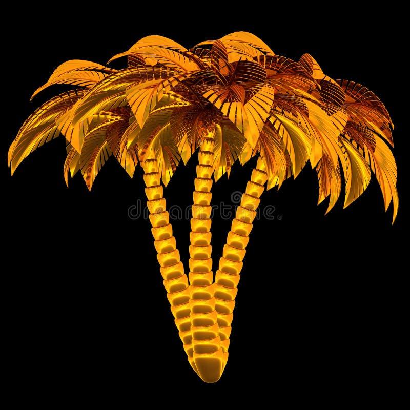 As palmeiras douradas estilizaram a natureza da planta 3 três tropical ilustração royalty free