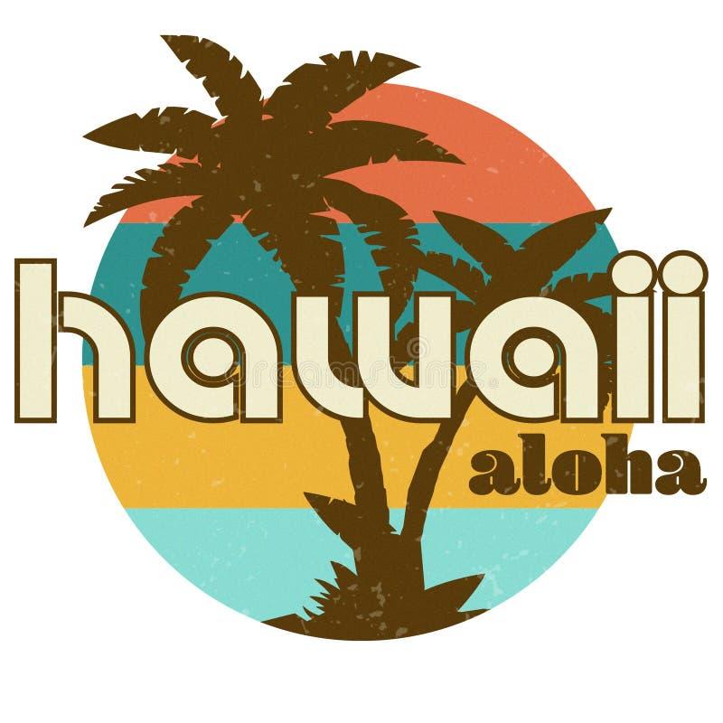 As palmeiras havaianas retros da arte do projeto do tshirt encalham fotografia de stock